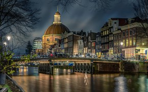 Wallpaper bridge, the city, river, building, home, the evening, lighting, Amsterdam, Church, the dome, bikes, Holland, ...