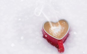 Picture winter, snow, heart, coffee, couples, mug, hot, heart, winter, background, snow, cup, coffee