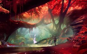 Picture fantasy, forest, river, trees, landscape, water, waterfall, digital art, artwork, concept art, fantasy art, Cyborg
