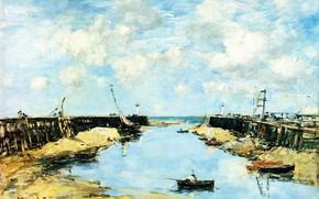 Picture landscape, boat, Eugene Boudin, Eugene Boudin, The entrance to the Bay of Trouville