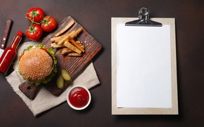 Picture photo, Bottle, Hamburger, Tomatoes, Food, Ketchup, Cutting Board, French fries, A sheet of paper