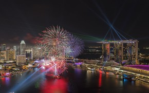 Wallpaper night, the city, lights, Bay, salute, panorama, Singapore