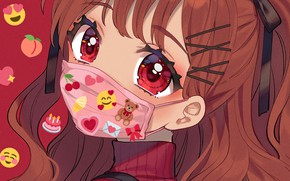 Picture face, girl, stickers, emoticons, clips, big eyes, medical face mask