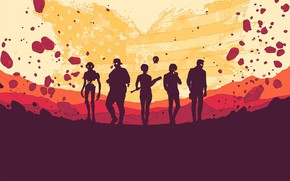 Picture people, group, silhouettes, Dustborn