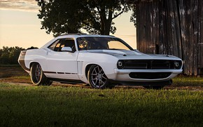 Picture White, Tuning, Muscle car, Plymouth Cuda