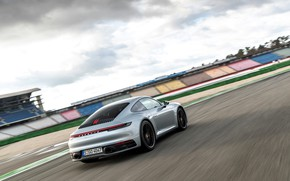 Picture coupe, speed, 911, Porsche, back, track, side, Carrera 4S, 992, 2019