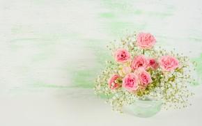 Picture table, bouquet, vase, roses
