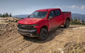 Picture red, stones, Chevrolet, pickup, the ground, Silverado, Z71, Trail Boss, 2019, Silverado LT