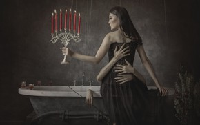 Picture girl, candles, hands, bath