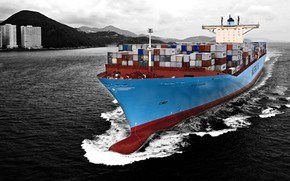 Picture ship, a container ship, Maersk line