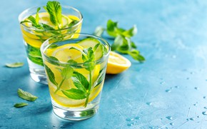 Picture ice, mint, lemons, lemonade