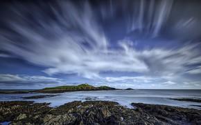 Picture coast, lighthouse, Ireland