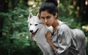 Picture look, girl, dog, Anton Nabatchikov, Elena Stern