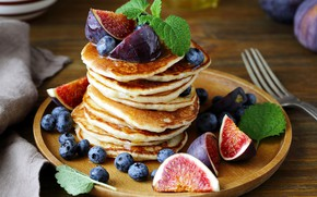 Picture berries, blueberries, pancakes, mint, cakes, figs