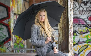 Picture look, girl, hair, umbrella, blonde