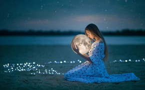 Picture sand, the sky, girl, the moon, the evening, dress, bokeh
