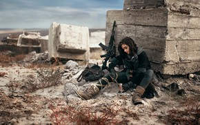 Picture girl, girl, postapokalipsis, post-apocalypse, Сергей Паришков