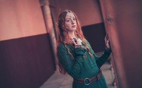 Wallpaper sadness, look, girl, face, pose, style, background, wall, sadness, elf, hands, dress, hairstyle, image, red, ...