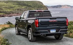 Picture road, rear view, pickup, GMC, Denali, Sierra, 2019