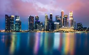 Picture sea, clouds, lights, coast, building, home, the evening, Bay, Singapore, skyscrapers, Singapore Cityscape