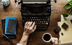 Picture metal, coffee, plant, table, typewriter