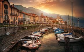Wallpaper sea, boats, pier, Italy, Cannobio
