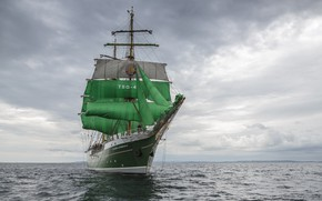 Picture clouds, ship, sailboat, green sails