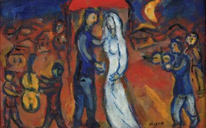 Picture MARC CHAGALL, THE BRIDE AND THE GROOM UNDER THE CANOPY, 1970-1975