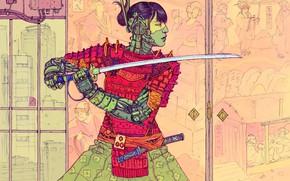 Picture Girl, Japan, Robots, Sword, Samurai, Fantasy, Art, Art, Robot, Robots, Fiction, Katana, Cyborg, Sci-Fi, Cyberpunk, …