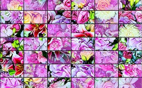 Picture background, texture, glass tile, flowers mixed, wall stained glass, pastel and bright colors, floral abstraction