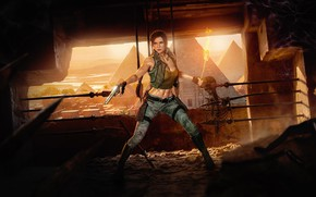 Picture chest, girl, rendering, gun, pyramid, skeleton, torch, lara croft, tomb raider, Egypt
