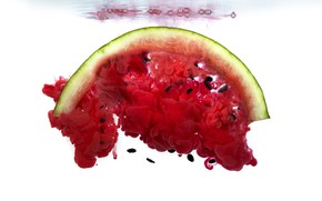 Picture water, red, bubbles, paint, watermelon, white background, seeds, dissolution, diffusion, swirls