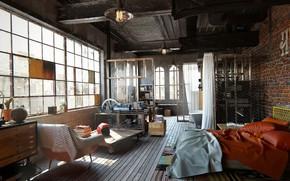 Picture design, interior, old school, children's, living room, reconstruction, loft