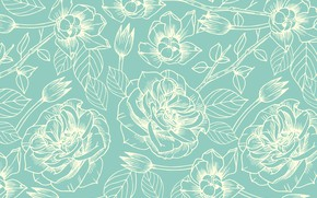 Picture white, flowers, background, blue, pattern