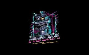 Picture Illustration, Background, Art, Style, Art, Mecha Godzilla, Minimalism, Trunk, Style, New Retro Wave, Mecha, Gull, …