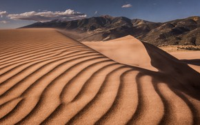 Picture sand, the sky, clouds, line, mountains, the dunes, desert, the slopes, dunes, Sands, relief