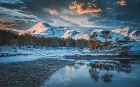 Picture winter, water, snow, trees, mountains, Norway, Todor Bozhkov