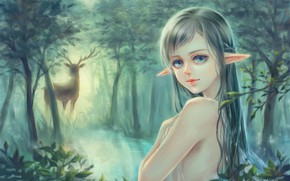 Picture forest, girl, nature, lake, elf, deer