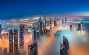 Picture the sky, the city, lights, fog, home, the evening, panorama, Dubai, Dubai, skyscrapers, the view …