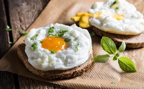 Picture egg, bread, Basil