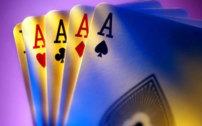 Picture card, poker, 4 aces