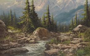 Picture Laszlo Neogrady, mountain landscape, Hungarian painter, Laszlo Nogradi, Hungarian painter, Mountain landscape
