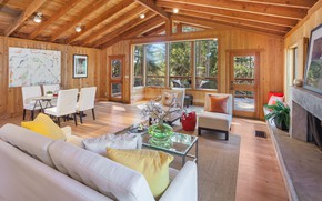 Picture interior, fireplace, living room, dining room, Stinson Beach, Seadrift Rd