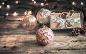 Picture decoration, lights, balls, Christmas, New year, christmas, balls, wood, vintage, bokeh, decoration