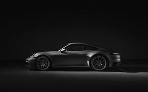 Picture grey, background, coupe, 911, Porsche, profile, Carrera 4S, 992, 2019