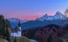 Picture road, landscape, sunset, mountains, nature, Germany, Bayern, Alps, Church, forest, Berchtesgaden, Berchtesgaden, Watzmann