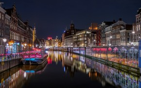 Picture the sky, water, light, landscape, night, lights, darkness, reflection, river, people, street, boat, the fence, …