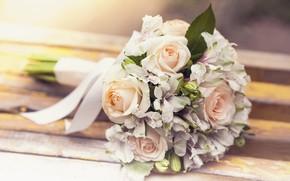 Picture roses, bouquet, Alstroemeria