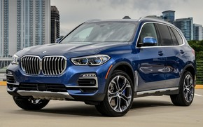 Picture car, blue, the city, BMW, SUV, front, BMW X5, BMW X5 2019