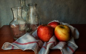Picture glass, table, apples, towel, bottle, still life, decanter